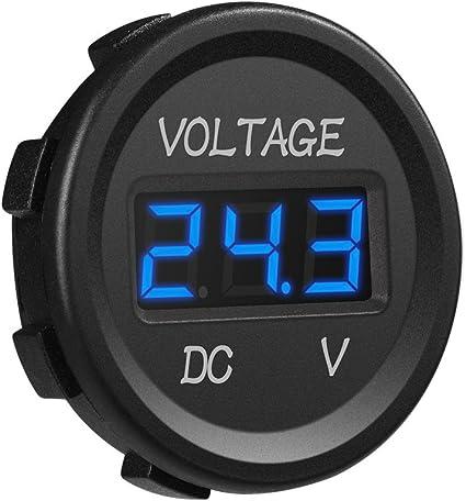 12-24V Cars Blue Round Voltmeter LED Panel Digital Display Waterproof Motorcycle