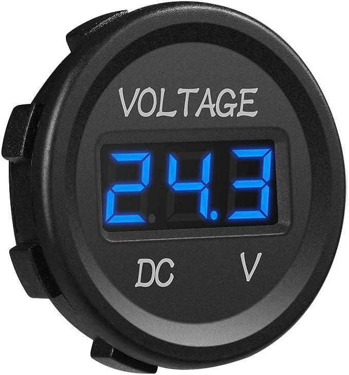 Colorful GZLMMY 12V Color LED DC Digital Display Voltmeter Round Panel Waterproof Tester Volt Gauge for Car Motorcycle Truck Boat Marine ATV UTV