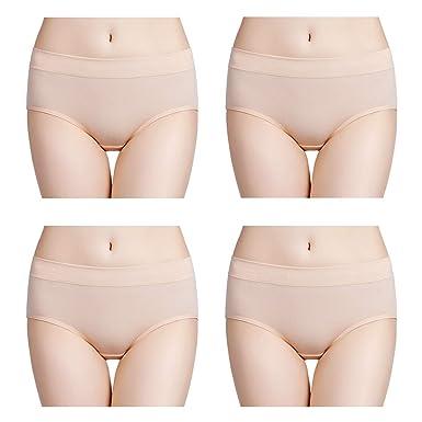 324131b1595ba4 wirarpa Damen Unterwäsche Slips Unterhosen Baumwolle 4er Pack Frauen  Hipster Panty Hautfarbe M 38 40 42