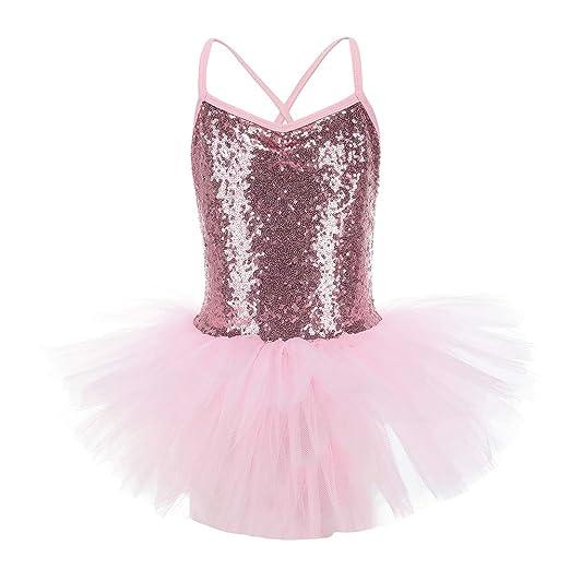 LOLANTA Girls Sequin Camisole Ballet Tutu Dress Ballerina Swan Costume  Gymnastic Leotard (Pink 92e3a982aa5e