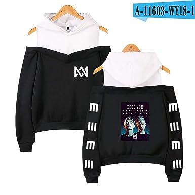 d433a165d1d FLAMINGO_STORE Marcus Martinus Off-Shoulder Hoodies Sweatshirt Women's Kpop  Sexy Sweatshirt Black