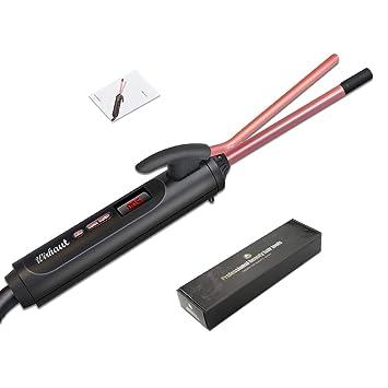 Wirhaut rizador de pelo, de 9 mm de pelo Curling Wand, temperatura 120-220 ℃ ajustable, 10s rápida Calefacción, rizador de pelo profesional con ...