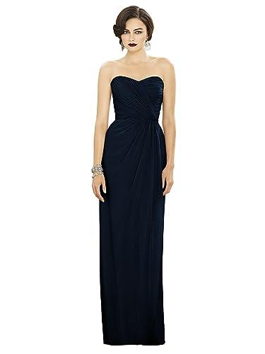 Women's Full Length Strapless Lux Chiffon Dress w/ Sweetheart Neckline by Dessy