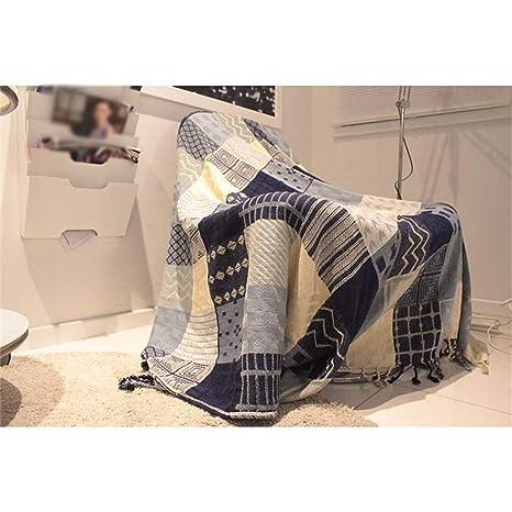 DCC Toalla de sofá, Azul británica Plaid Universal Cubierta Completa Antideslizante Manta de Ocio Manta