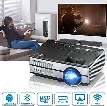 Mini Portátil Inalámbrico Proyector Cine en casa 2800 Lúmenes Android LCD LED Inteligentes TV Proyectores para Juegos Película Exterior Obra de Arte, con HDMI USB Audio VGA Airplay WiFi Screen Cast: Amazon.es: