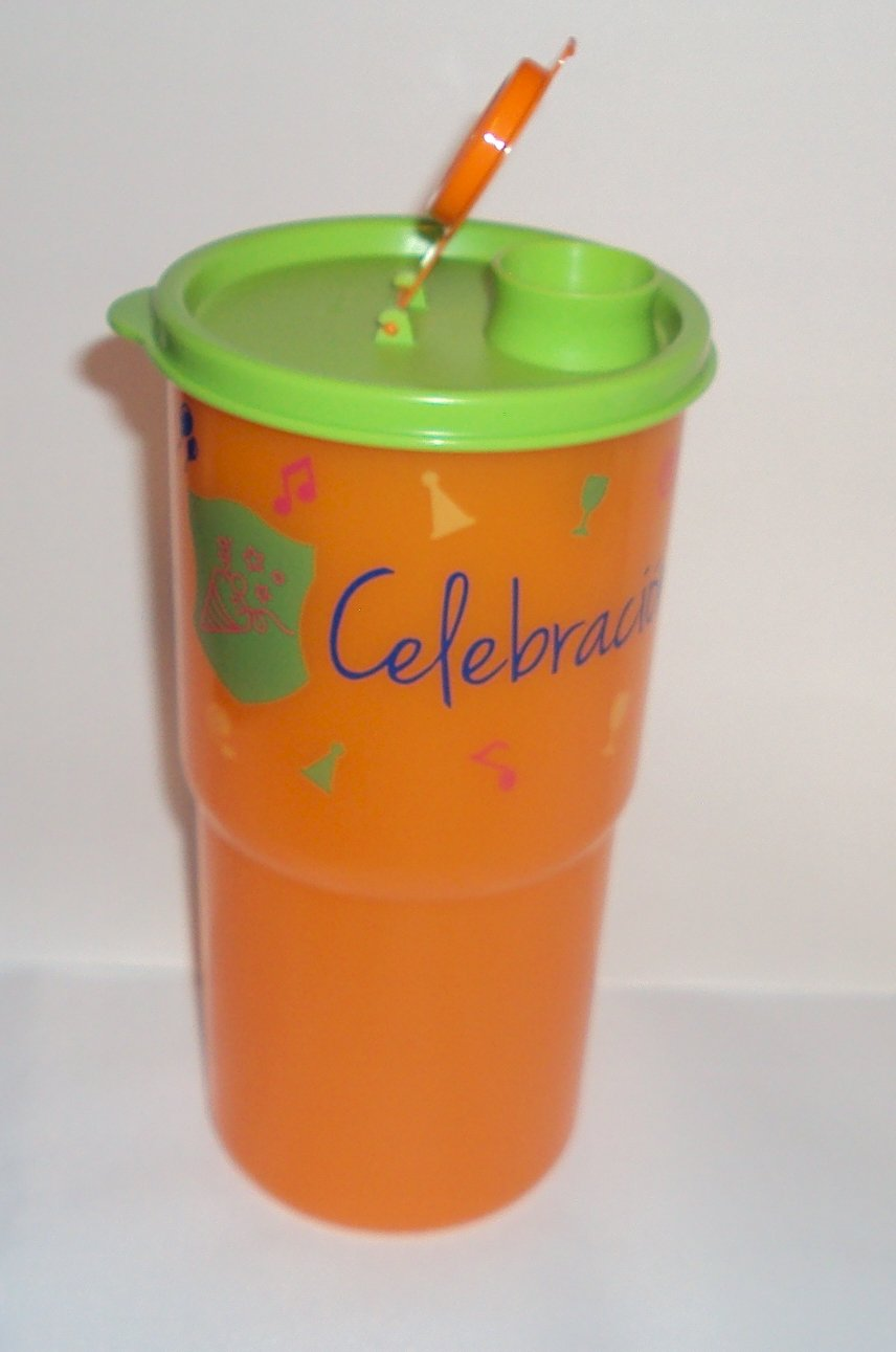 Tupperware ThirstQuake大メガタンブラー旅行カップオレンジと緑Celebration   B07B28LZFK