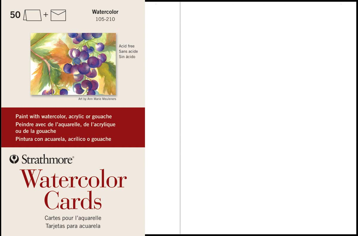 Strathmore 105-210-1 Watercolor Cards, Cold Press, 5'' x 6.875'', 50 Envelopes, Cards & Envelopes by Strathmore