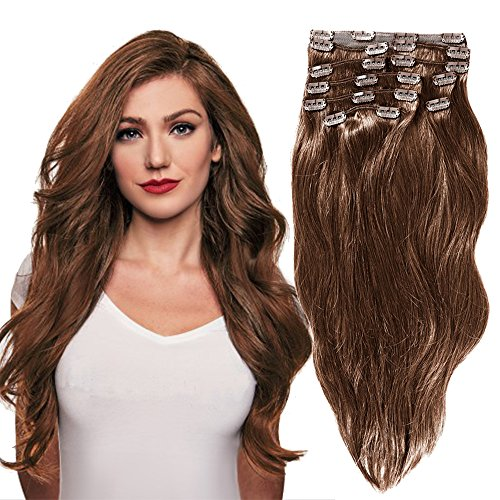 - YONNA Remy Human Hair Clip in Extensions Chestnut Brown #6 Double Weft Long Soft Straight 10 Pieces Thick to Ends Full Head 16inch 120g