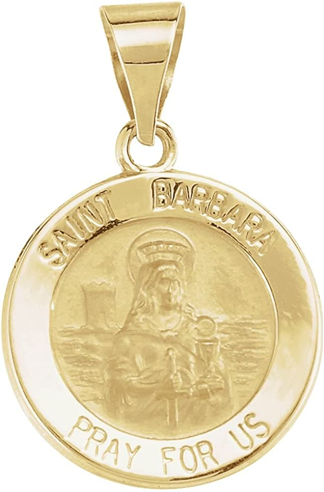 Jewels By Lux 14K Yellow Gold 15mm Round Hollow St Barbara Medal