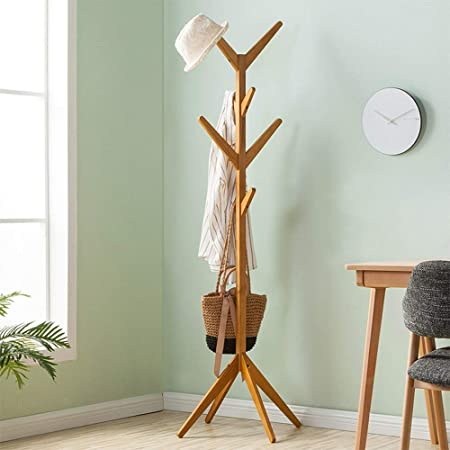 Amazon.com: PLLP Coat Racks Clothes Stand Wood, Modern Hall ...