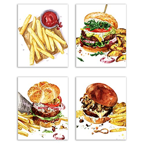 Cheese Wall (Cool Burger Kitchen Prints - Set of Four Matte Watercolor Cheese Burgers with Fries Wall Art Decor Photos 8x10)