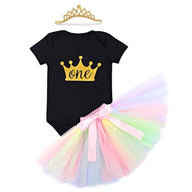 48ffb04d0 Baby Girls Newborn Flower Unicorn 1st ONE Birthday Cake Smash Crown 3Pcs  Outfits Princess Top Bodysuit