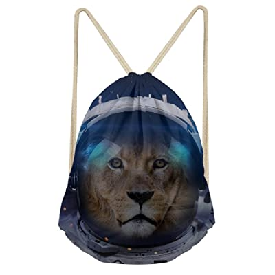 Showudesigns Space Animal Kids Adult Drawstring Daypack Bag for Trainer Outdoor Fitness hot sale