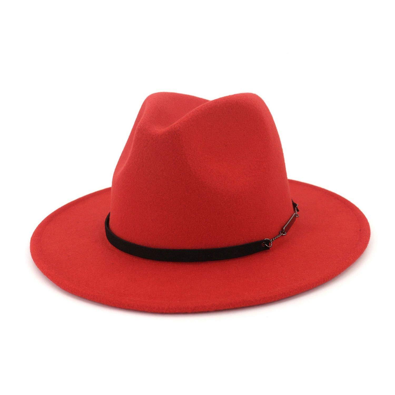 Winter Autumn Black Red Wool Top Fedora Hat Men Church Hats Women Elegant Jazz Wide Brim Bowler Casual Cap