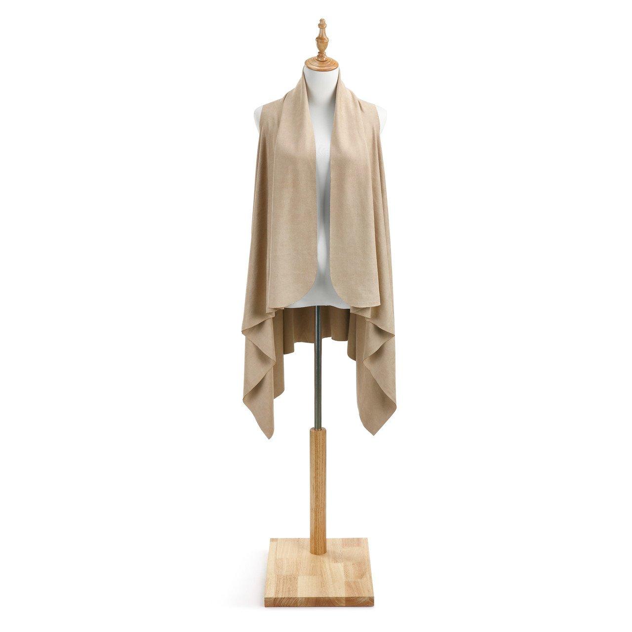 Tan Women's One Size Vegan Suede Fashion Vest Duster