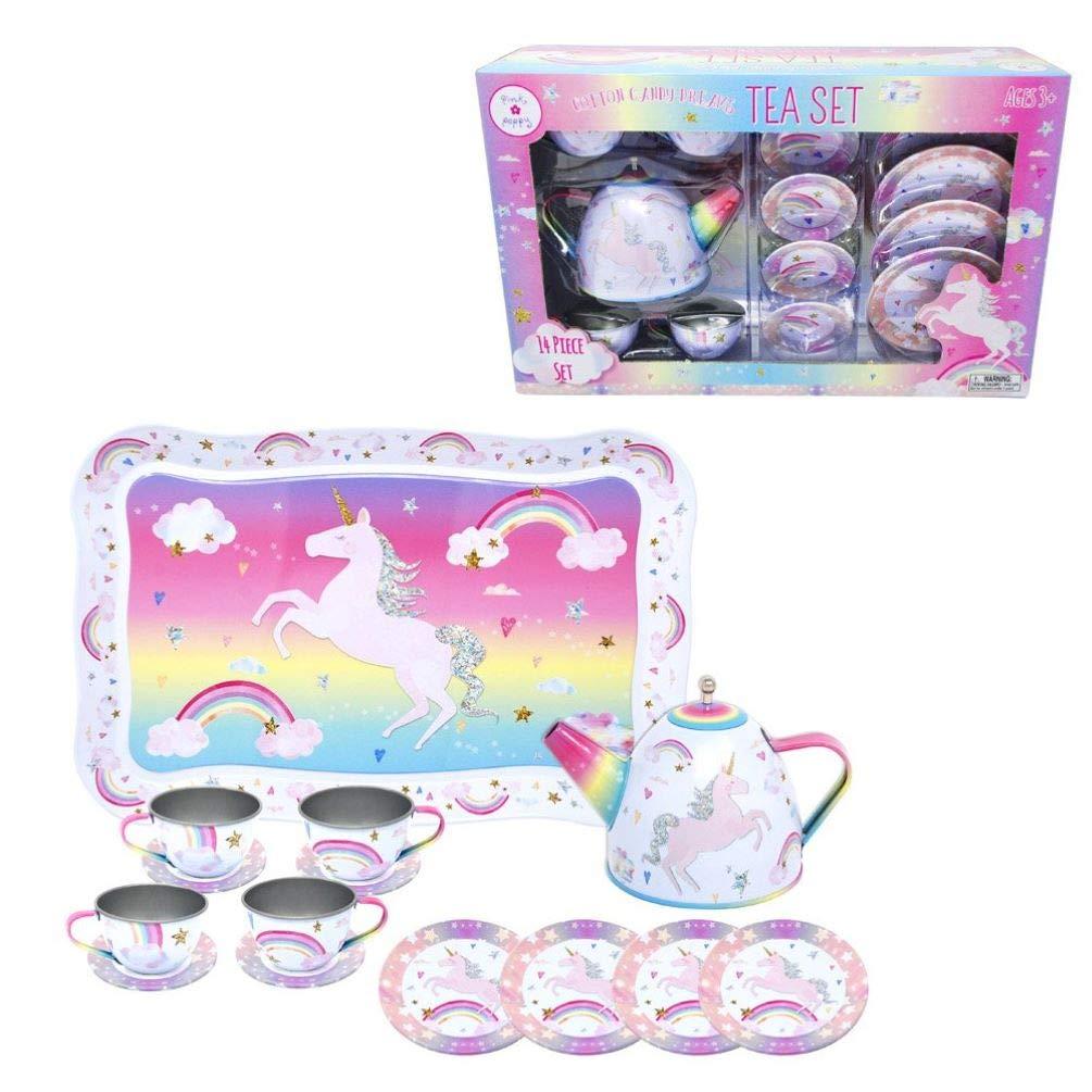 Pink Poppy Cotton Candy Dreams Unicorn Tin Tea Set