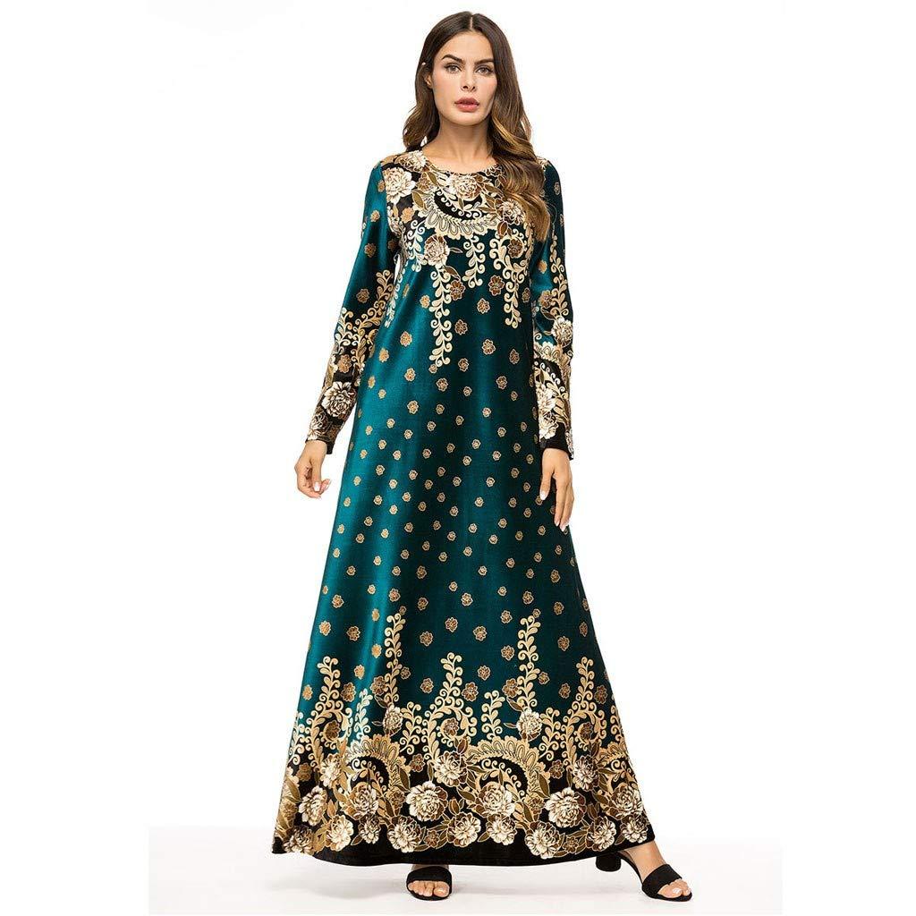Muslim Dress Dubai Kaftan for Women, Arab Islamic Middle East Ethnic Print Long Sleeve Abaya, MITIY Green