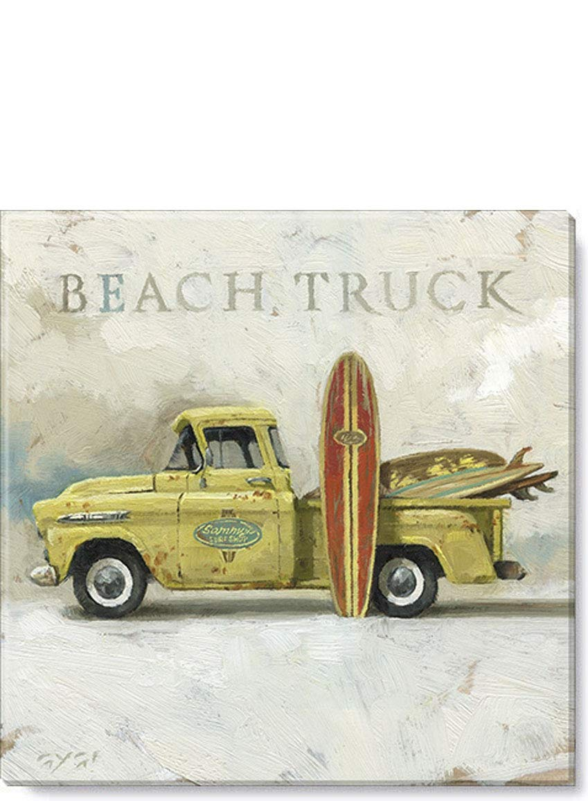 """Sullivans Beach Truck with Surfboards Giclee Wall Art Beautiful Art Work by Darren Gygi 9/"""" x 9/"""" Gallery Wrapped Canvas Print Stretched Over Wood Frame Ready to Hang"""