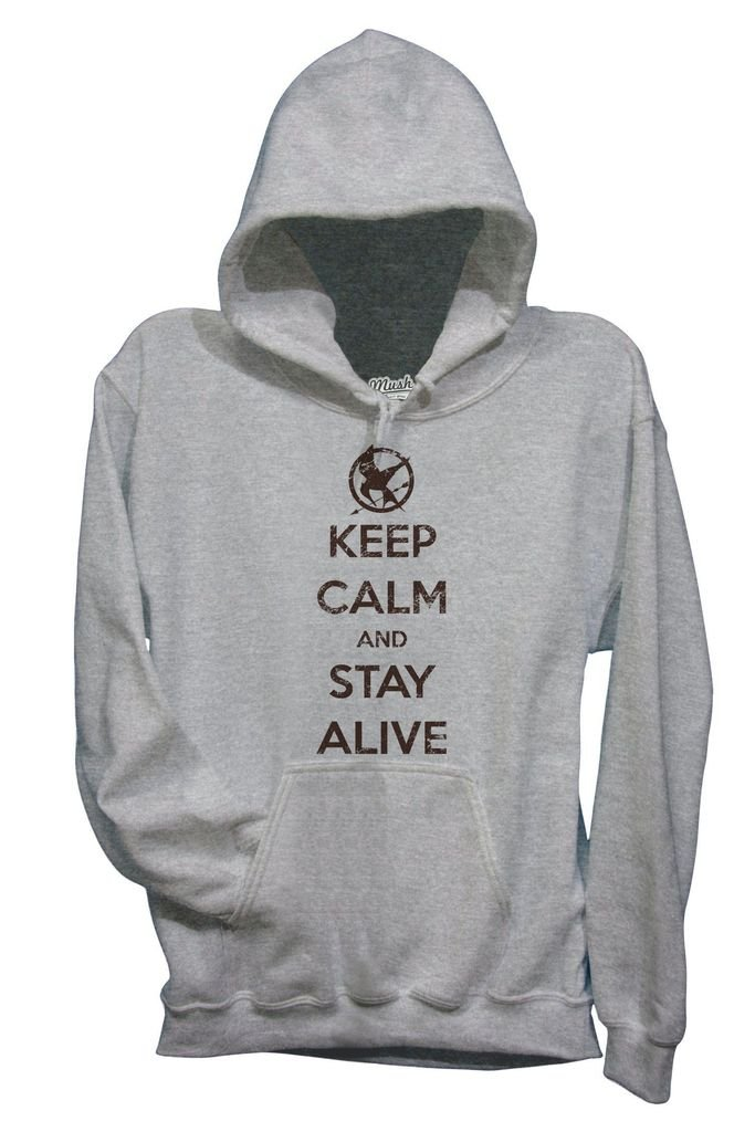MUSH Felpa Keep Calm And Stay Alive Hunger Games - Film by Dress Your Style - Donna-L-Grigio Sport mushF-IT-1015-W-GREY-04