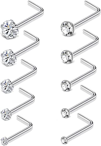 Tornito 20G 10Pcs Stainless Steel Nose Screw Studs Rings CZ Nose Ring Labret Nose Piercing Jewelry for Men Women Silver Rose Gold Tone