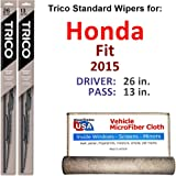 Wiper Blades for 2015 Honda Fit Driver & Passenger Trico Steel Wipers Set of 2 Bundled