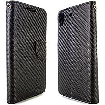 Desire 626 / 626s Case, CoverON® [CarryAll Series] Flip Folio Card Slot Pouch Cover LCD + Strap + Stand Wallet Case For HTC Desire 626 / 626s - Black Carbon Fiber