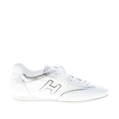 Hogan Donna Olympia Sneaker in Pelle più Tessuto Bianco ed Argento  Amazon. it  Scarpe e borse 4bdb4f2e064