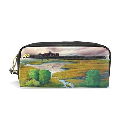 22412cc7672c Amazon.com : Prairie Horse Painting Leather Pen Pencil Case Bag ...