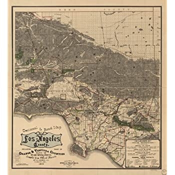 vintage map poster sectional road map of los angeles county