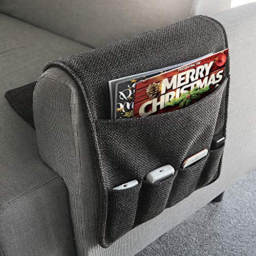 YJLWE Double-Edged Remote Storage Organizer for Recliner Couch Durable 6 Pockets Sofa Armchair Caddy Organizer Non Slip - Dark Grey