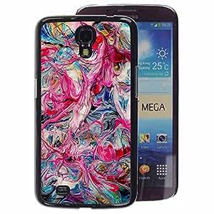 A-type Arte & diseño plástico duro Fundas Cover Cubre Hard Case Cover para Samsung Galaxy Mega 6.3 (Pink Oil Colors Teal Pink Dripping Chaos)
