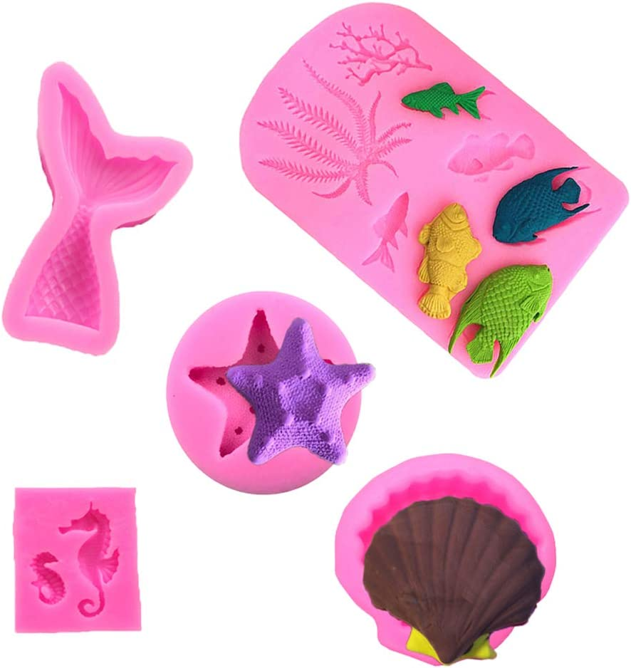 Set of 5Mermaid Tail Mold Seashell Silicone Mold Fish Fondant Mold Seahorse Chocolate Candy Starfish Mold Coral Shaped Mold for Sea Creatures Beach Theme Birthday Cake Decoration