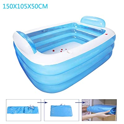 Yunhigh Inflatable Swimming Pool, 3-Ring Family Kiddie Pools, Thickened Wear-Resistant Inflatable Pool Swim Center for Kids, Adults, Babies, Toddlers 150X105X55CM: Home & Kitchen