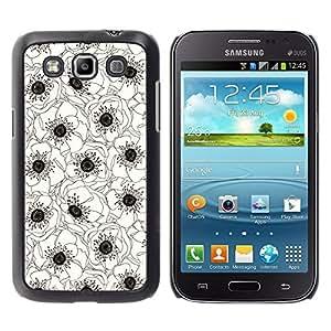For Samsung Galaxy Win / I8550 / I8552 / Grand Quattro Case , White Black Art Drawing Flower - Diseño Patrón Teléfono Caso Cubierta Case Bumper Duro Protección Case Cover Funda