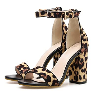 f245eab64c45d Amazon.com: Sunhusing Ladies Euro-America Square Heel Buckle Strap ...