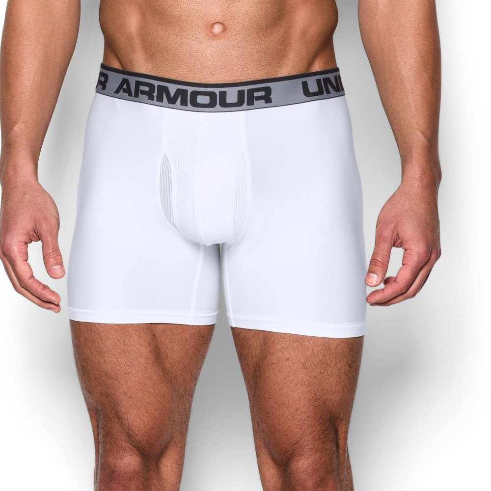 Under Armour Men's Original Series 6'' Boxerjock Boxer Briefs, White (101)/Black XX-Large by Under Armour