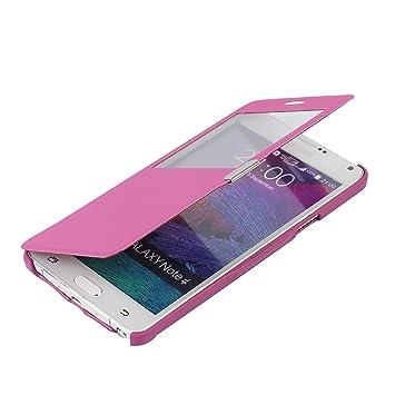MTRONX para Funda Samsung Galaxy Note 4, Cover Carcasa Case Caso Ventana Vista Folio Flip Tela Asargada PU Cuero Delgado Piel con Cierre Magnetico ...