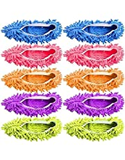 ALINK 10 Pieces Microfiber Mop Slippers Shoes Cover Soft Washable Reusable Floor Polishing Dust Dirt Hair Men Women Sweeper Cleaning Mop Tool for House Office Bathroom Kitchen, Multicolored 5 Pairs