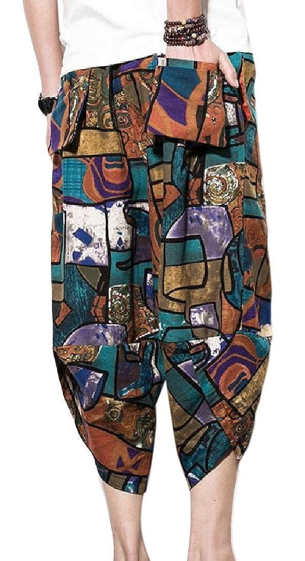 WSPLYSPJY Mens Elastic Waist Linen Pants Wide Leg Baggy Harem Pants Trousers