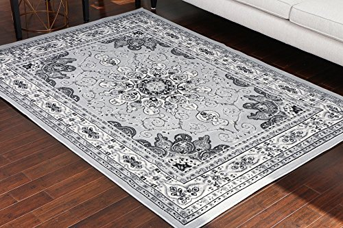 Generations Collection 100% Olefin Grey Silver White Oriental Traditional Isfahan Persian Area Rugs Rug 8023silver 5'2 x 7'3