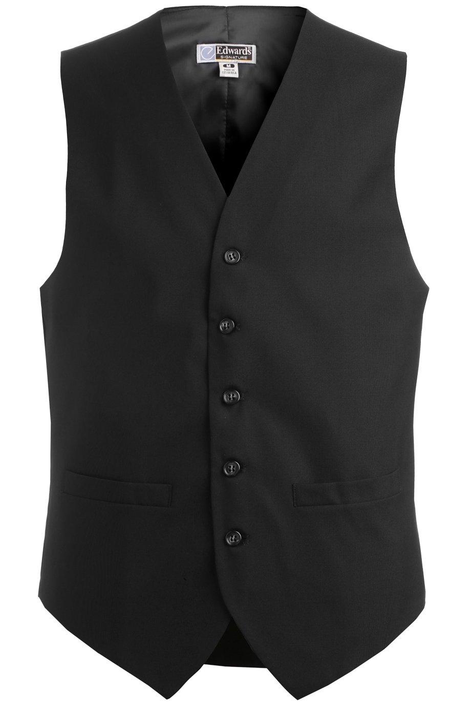 Ed Garments Men'S 4680 Classic Five Button Vest Server Vests (Black M-R)