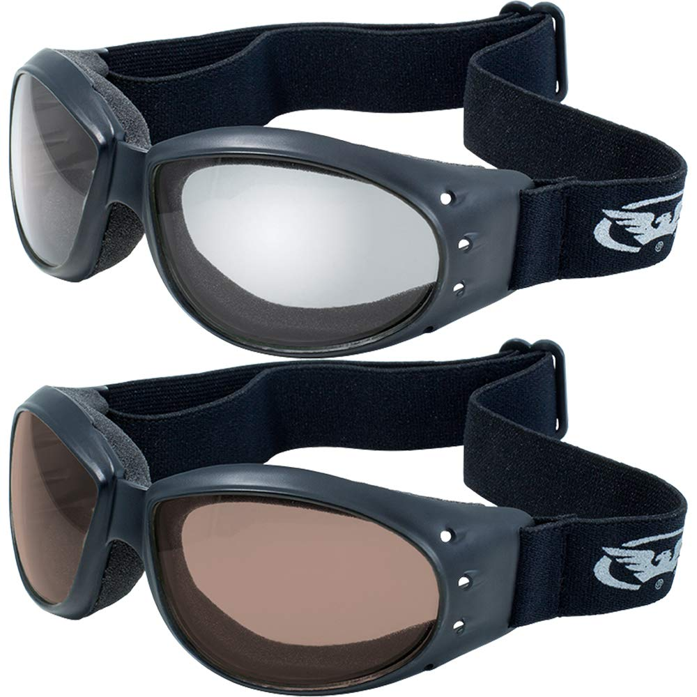 Global Vision (2 Goggles) Motorcycle ATV Riding Clear Mirror and Driving Mirror Glasses Sunglasses by Global Vision