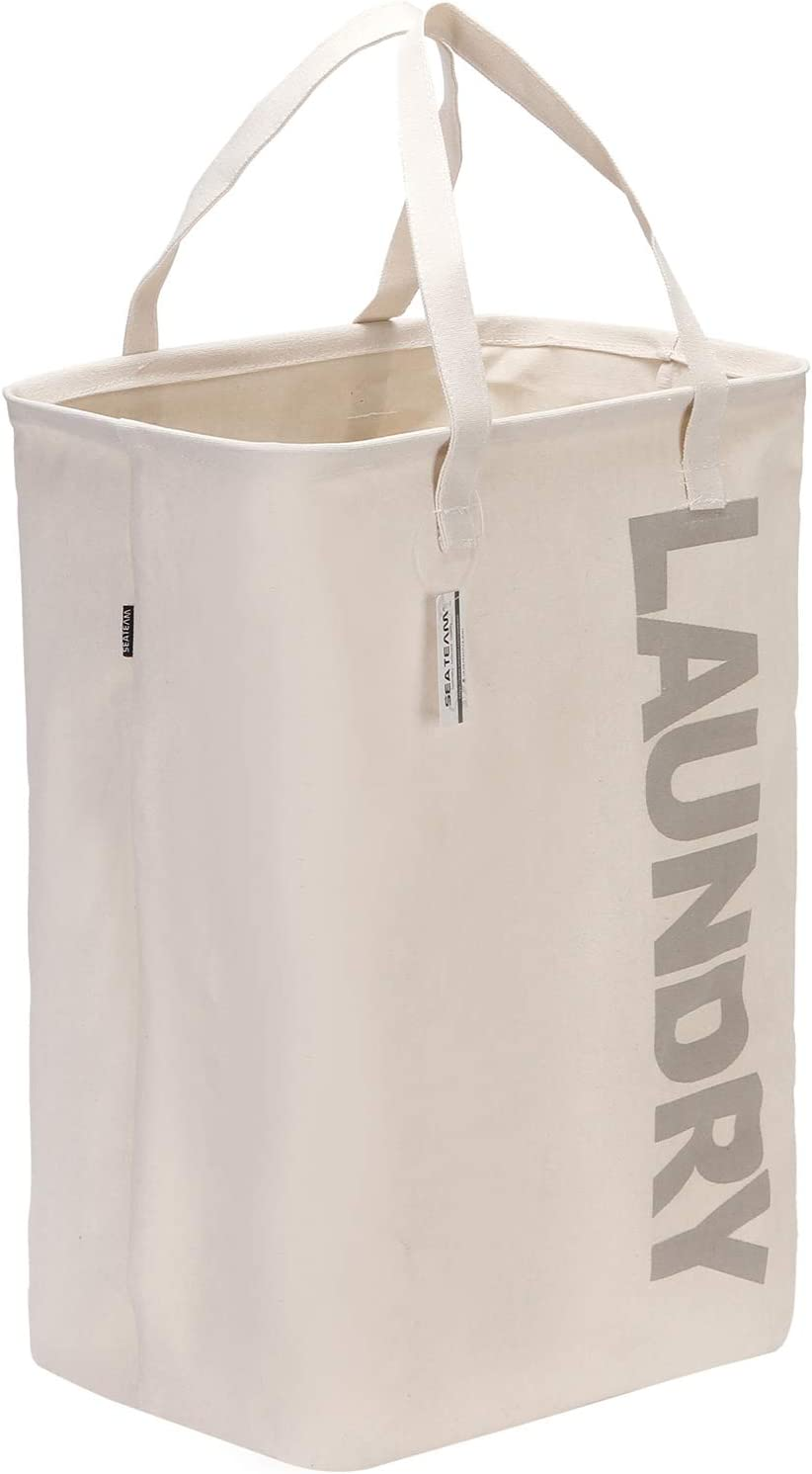 """Sea Team 23.6"""" Large Size Canvas Fabric Laundry Hamper Collapsible Rectangular Storage Basket with Waterproof Coating Inner and Handles, Grey Letter"""
