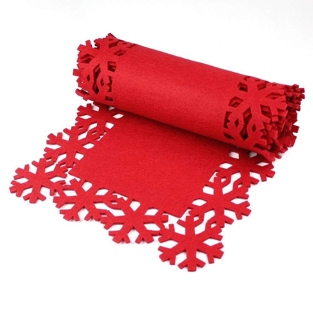 D/écoration de No/ël Chemin de table en feutre rouge de flocon de neige de No/ël design 2M