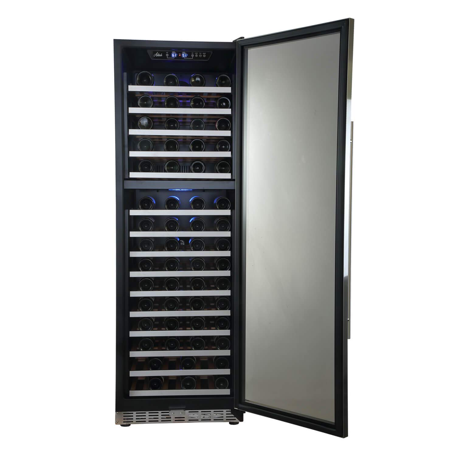 "Aokinle 24"" Wine Cooler-155 Bottle Dual Zone,Built-in&Freestanding Compressor Wine Refrigerator,Stainless steel&Double-Layer Tempered Glass Door,Temperature Memory Function,Blue LED"