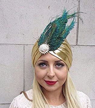Starcrossed Boutique Gold Peacock Feather Turban Headpiece Fascinator 1920s  Flapper Headpiece 3584  Amazon.co.uk  Beauty 367d57a12eb