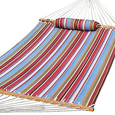 Prime Garden Quilted Fabric Hammock with Pillow, Hardwood Spreader Bars, 2 People, Red/Sky Blue
