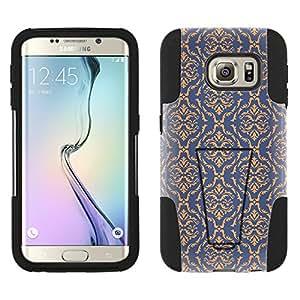 Samsung Galaxy S6 Edge Hybrid Case Victorian Fancy Peach on Cyan Blue 2 Piece Style Silicone Case Cover with Stand for Samsung Galaxy S6 Edge