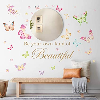 Decalmile Butterfly Wall Decals Quotes Be Your Own Kind Of Beautiful Inspirational Word Wall Stickers Girls Bedroom Living Room Office Wall Decor Amazon Co Uk Kitchen Home