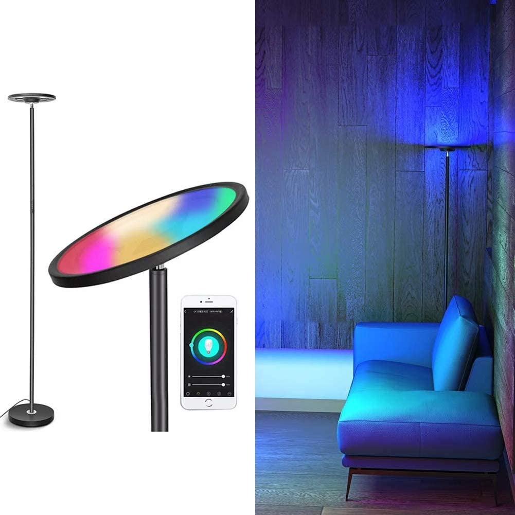 Tovinx 24-Watt Smart Floor Lamp Compatible with Alexa & Google Home RGB and White Smart Standing Lamp Dimmable Torchiere for Reading Living Rooms Bedrooms Decor and DIY-Black